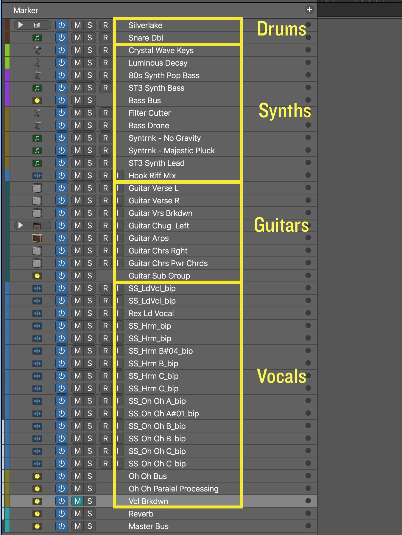 Drum, synth, guitar, and vocal tracks are organized together.