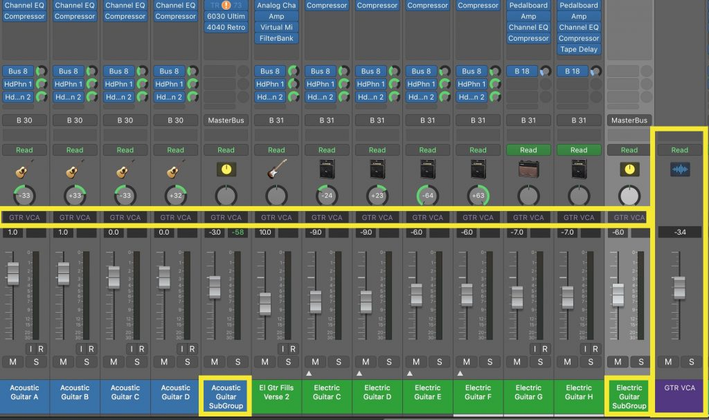 Acoustic & electric guitar tracks are subgrouped separately, but also all controlled from a single VCA fader.