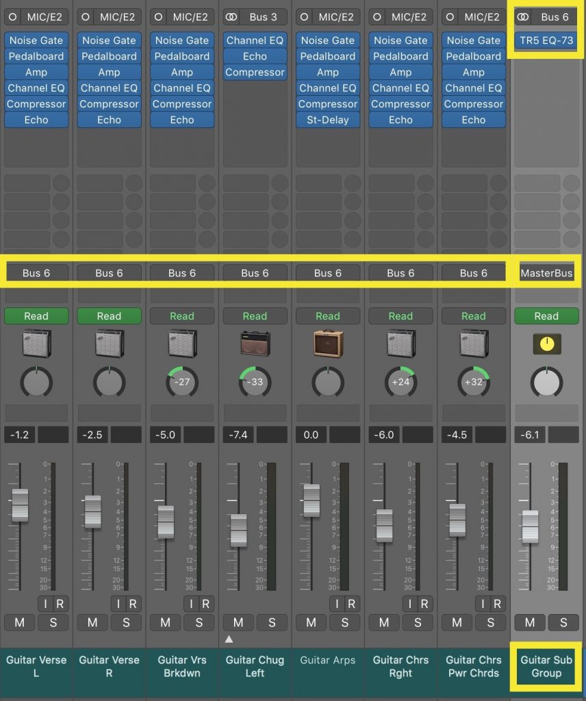 Several guitar tracks are routed to a subgroup on Bus 6. The tracks are each processed individually, but also with an EQ on the subgroup affecting them all.