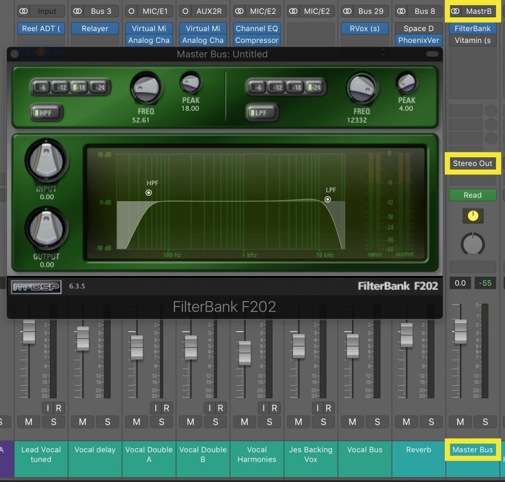 Here the entire mix is processed with a gentle EQ tweak before being sent to the final stereo output.