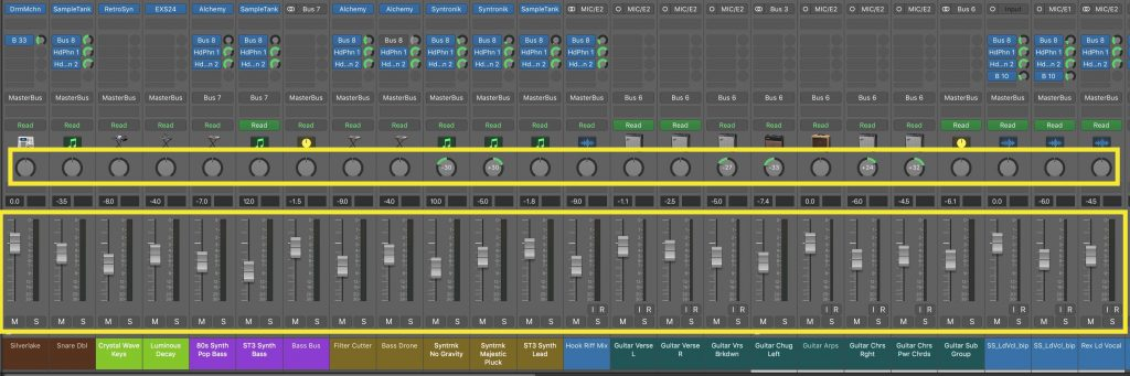 Faders and pans set to get an overall sense of the song, and ensure all the parts are working together the way we intend.