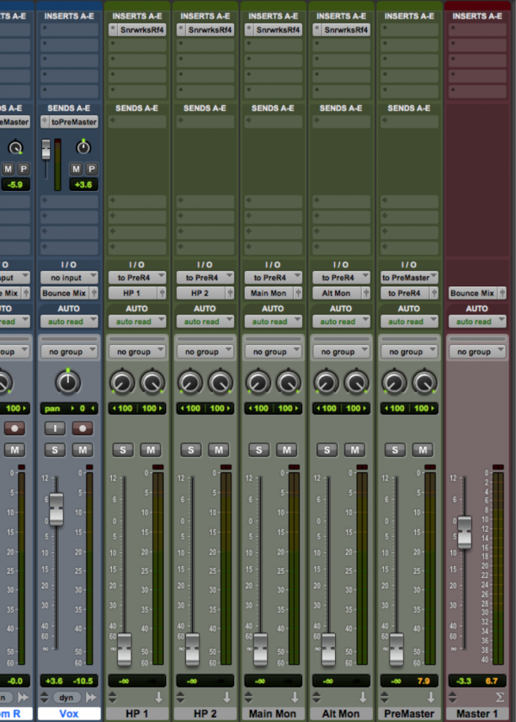 This particular set-up would allow you to hear corrective equalization specific to 2 sets of headphones and 2 pairs of monitors without affecting the final bounce. Since the Master track does not have the <a href=